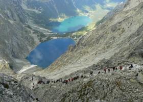 Black lake below Mount Rysy and lake Morské oko